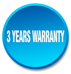 3 years warranty blue round flat isolated push vector