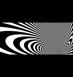 abstract op art black and white lines in hyper 3d vector image