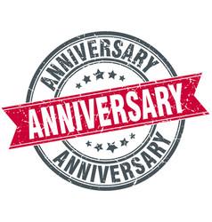 Anniversary round grunge ribbon stamp vector