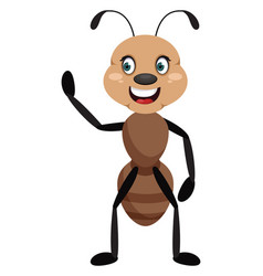 Ant waving on white background vector