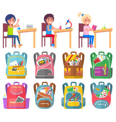 Backpack and pupils back to school lab vector