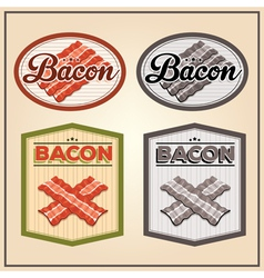 Bacon meat vintage labels vector
