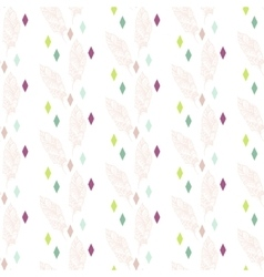 Beige boho feathers with colorful rhombs pattern vector