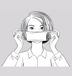 Blonde girl puts a surgical mask on her face vector