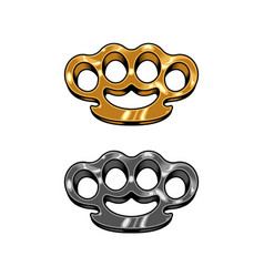 Brass knuckles set vector