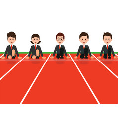 businessman and businesswoman lined up getting vector image