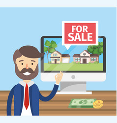 Businessman with computer to sale houses property vector