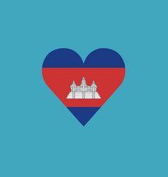 Cambodia flag icon in a heart shape in flat design vector