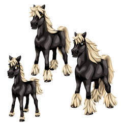 Cartoon black horses with blonde mane vector