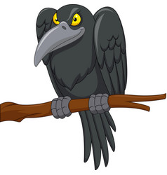 Cartoon crow on a tree branch vector
