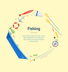 cartoon fishing banner card circle vector image