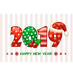 cartoon greeting banner in year 2019 happy vector image