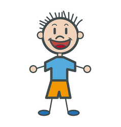 Character happy boy kid outline vector