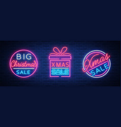 christmas sale discounts a set of cards in neon vector image