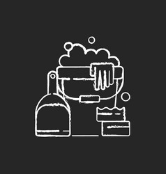 Cleaning tools chalk white icon on black vector