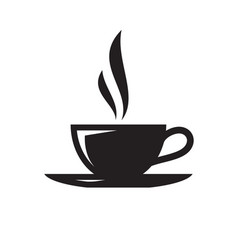 coffee or tea cup - black icon on white background vector image