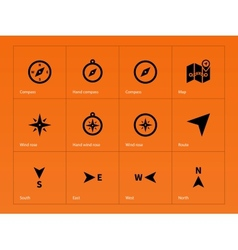 Compass icons on orange background vector image