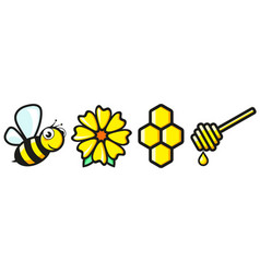 cute bee flower and honeycomb vector image