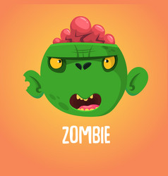 Cute cartoon zombie head halloween vector