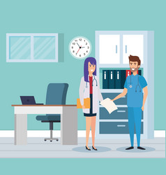 Female doctor and practitioner in consulting room vector