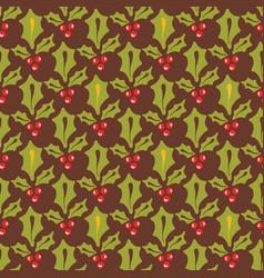 festive christmas holly berries design vector image