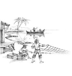Fishermen at work sketch vector
