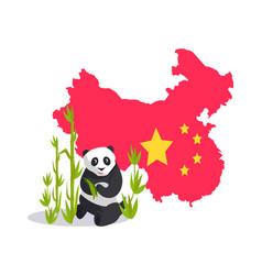 flag china map and panda asian sign vector image
