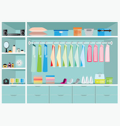 Flat design walk in closet with shelves vector