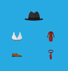 Flat icon dress set of male footware cravat vector
