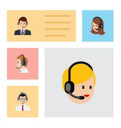flat telemarketing set of call center service vector image