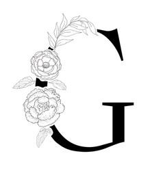 floral alphabet decorative serif letter vector image