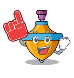 Foam finger spinning top mascot cartoon vector