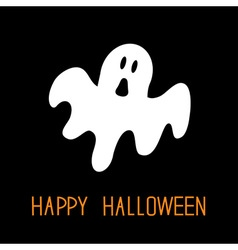 Funny flying ghost Happy Halloween Greeting card vector
