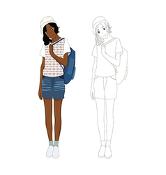 Girl Denim Fashion African No 3 vector