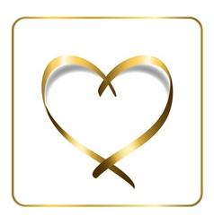 gold heart ribbon 1 vector image