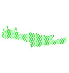 green hexagon crete island map vector image