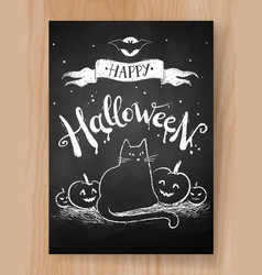 Halloween postcard chalked design vector