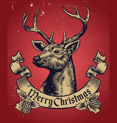 hand drawing style christmas deer with text vector image