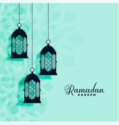 Hanging islamic lamps decoration ramadan kareem vector