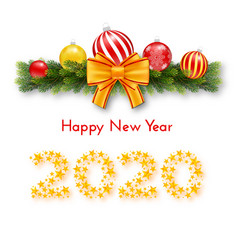 happy new year 2020 holiday gift card vector image