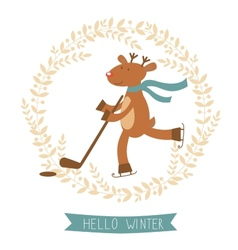 Hello winter card with cute deer boy ice skating vector image vector image