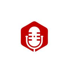hexagon podcast logo icon design vector image