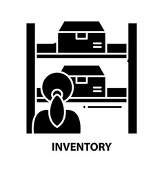 Inventory icon black sign with editable vector