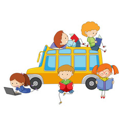isolated kids learning on white background vector image