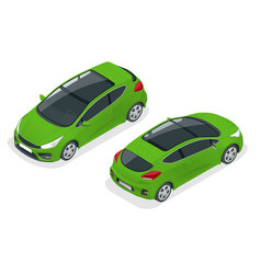 Isometric car green hatchback 3-door icon car vector