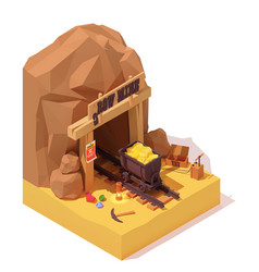 Isometric old gold mine and mine cart vector