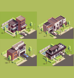 Isometric villa compositions set vector