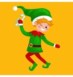 Jumping Christmas elf isolated with sweets in a vector image