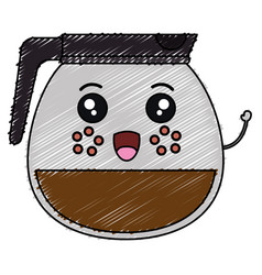 Kettle coffee kawaii character vector