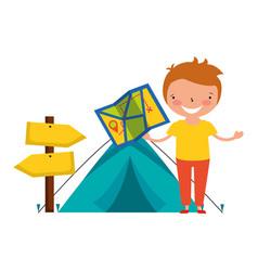 kid vacation camping vector image